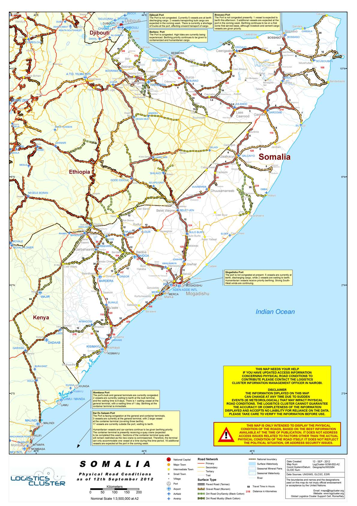 Somalia Road Conditions as at 28th November 2012